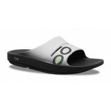 Oofos OOahh Sport Slide Sandal - Black/White