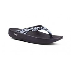 Oofos OOlala Luxe Sandals - Black/White Geo
